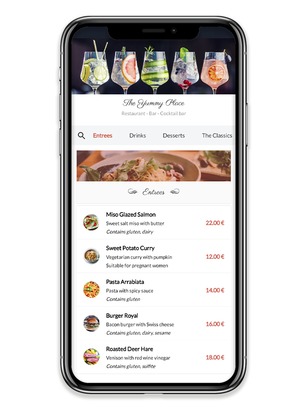 With Yumm, you maintain your menu in an easy and inexpensive way, letting customers view your menu on their own smartphone.